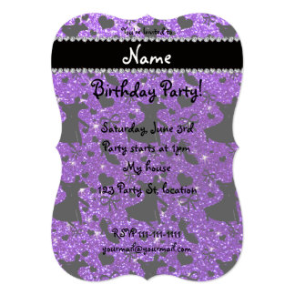 Custom name indigo purple glitter ballroom dancing custom announcement cards