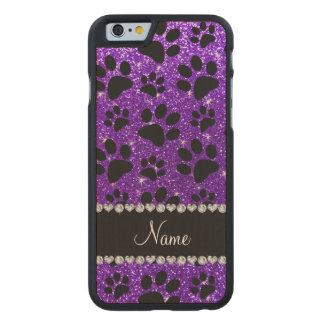 Custom name indigo purple glitter black dog paws carved® maple iPhone 6 case