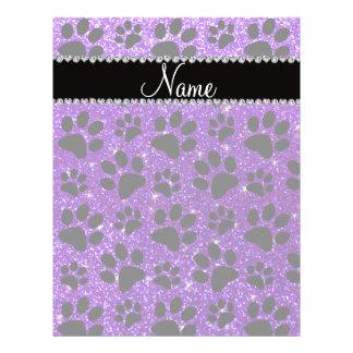 Custom name indigo purple glitter black dog paws personalized flyer