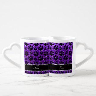 Custom name indigo purple glitter black dog paws lovers mug set