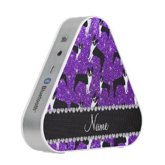 Custom name indigo purple glitter boston terrier speaker