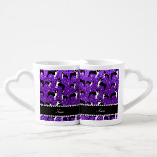 Custom name indigo purple glitter boston terrier lovers mug set