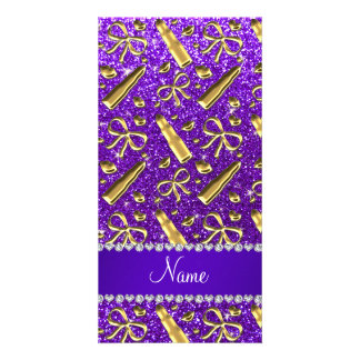 Custom name indigo purple glitter gold lipstick photo card template