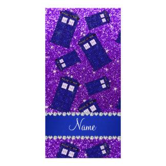 Custom name indigo purple glitter police box personalized photo card