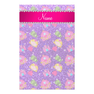 Custom name indigo purple glitter princess frogs custom stationery