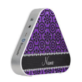 Custom name indigo purple glitter retro flowers bluetooth speaker