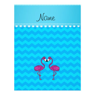 Custom name kissing flamingo sky blue chevrons full color flyer