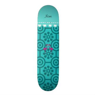 Custom name kissing flamingo turquoise flowers skate board decks
