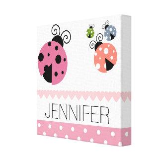 Custom name Ladybug Pink Polka Dot Stretched Canvas Print