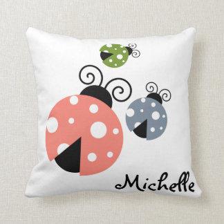 Custom Name Ladybug Spring Cushion