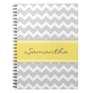 Custom Name Lemon Grey Chevron Notebook