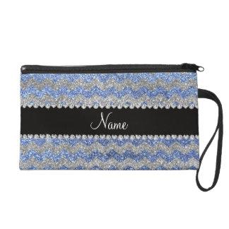 Custom name light blue silver glitter chevrons wristlet purse