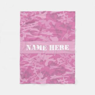 Custom Name Light Pink Camo Pattern Throw Blanket