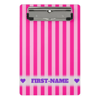 Custom Name + Light Pink & Deep Pink Stripes Mini Clipboard