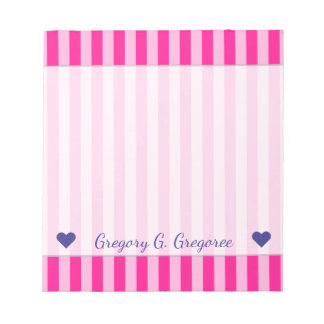 Custom Name + Light Pink & Deep Pink Stripes Notepad