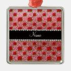 Custom name light pink glitter roses metal ornament