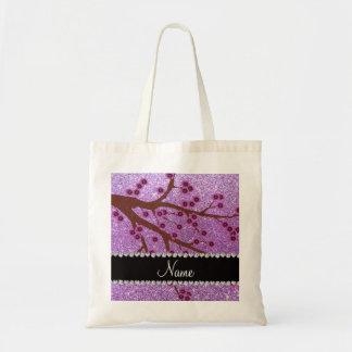 Custom name light purple glitter cherry blossoms bags