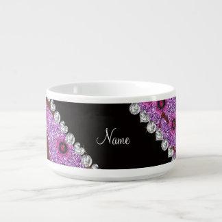 Custom name light purple glitter cherry blossoms chili bowl