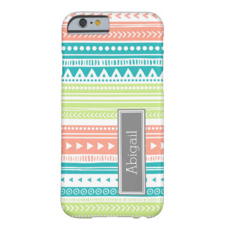 Custom Name Lime Coral Teal Tribal Vintage Pattern Barely There iPhone 6 Case