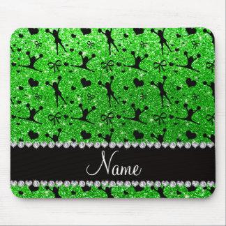 Custom name lime green glitter cheerleading mouse pad