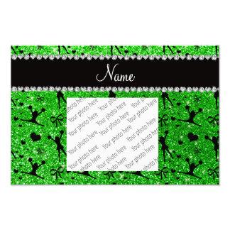 Custom name lime green glitter cheerleading photograph