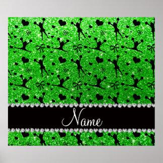 Custom name lime green glitter cheerleading print