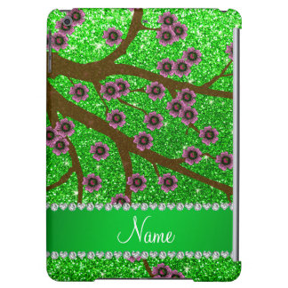 Custom name lime green glitter cherry blossoms cover for iPad air