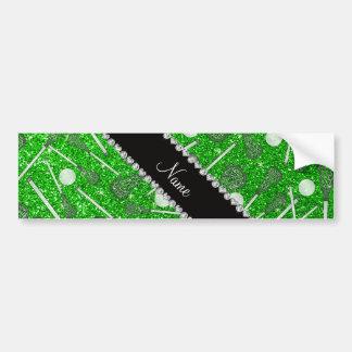 Custom name lime green glitter lacrosse sticks bumper sticker