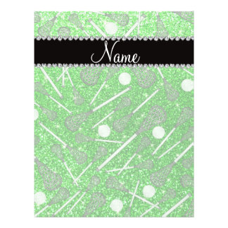 Custom name lime green glitter lacrosse sticks custom flyer