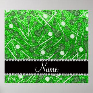 Custom name lime green glitter lacrosse sticks poster