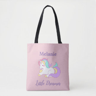 Custom Name Little Dreamer Cute Unicorn Tote Bag