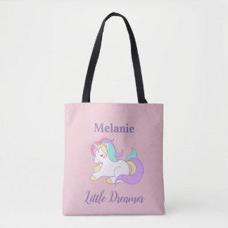 Custom Name Little Dreamer Cute Unicorn Tote Bag
