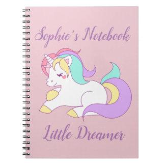 "Custom Name ""Little Dreamer"" Unicorn Pink Notebook"