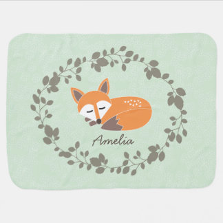 Custom Name LIttle Fox Baby Blanket