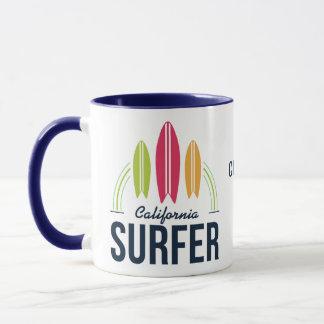 Custom Name & Location Surfer mugs