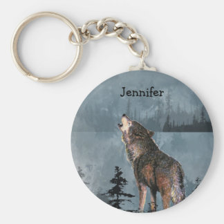Custom Name Lonely Wolf Howling across Lake Key Ring