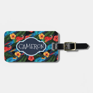 Custom Name Macaw And Hibiscus Pattern Luggage Tag