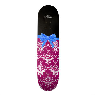 Custom name magenta pink damask blue glitter bow skate board