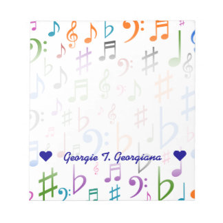 Custom Name; Many Colorful Music Notes and Symbols
