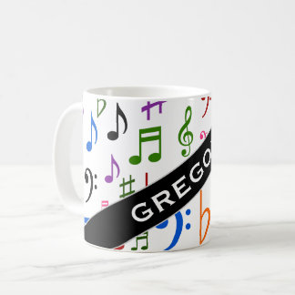 Custom Name; Many Colorful Music Notes and Symbols Coffee Mug