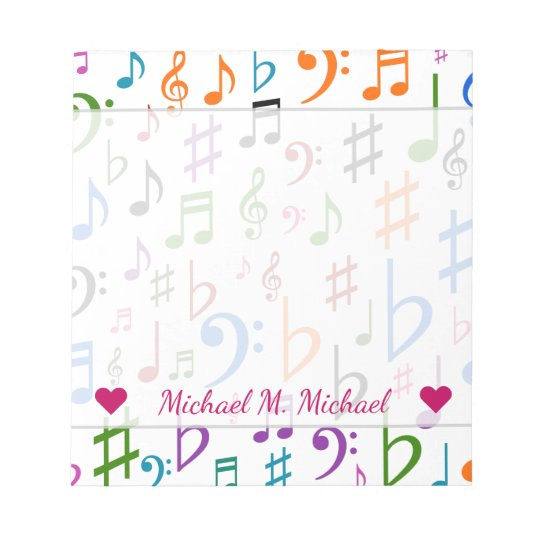 Custom Name; Many Colourful Music Notes and