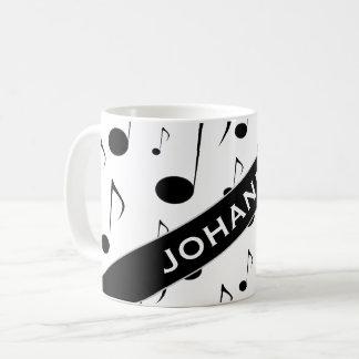 Custom Name + Many Musical Notes Pattern Mug