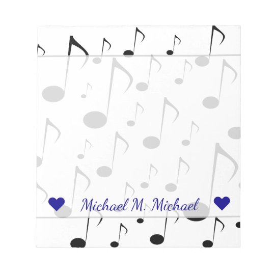 Custom Name + Many Musical Notes Pattern Notepad