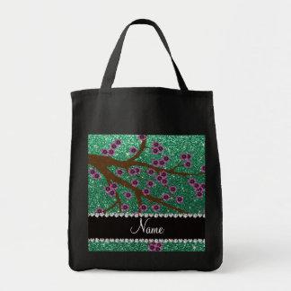 Custom name mint green glitter cherry blossoms canvas bag
