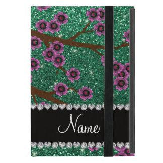 Custom name mint green glitter cherry blossoms case for iPad mini
