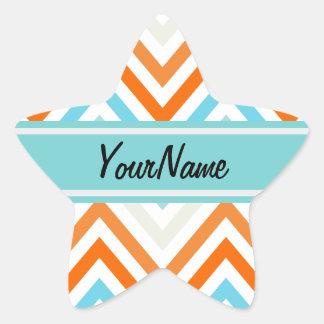 Custom Name Modern Trendy Chevron Pattern Gifts Star Sticker
