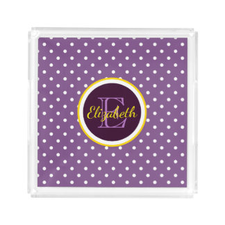 Custom Name & Monogram Purple Polka Dots Small Acrylic Tray