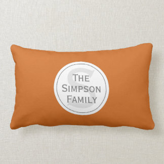Custom Name Monogrammed. Cinnamon Orange & White Lumbar Cushion
