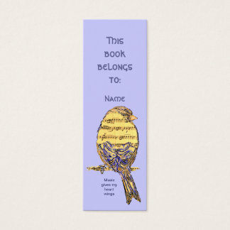 Custom Name Music Gives My Heart Wings Bird Mini Business Card