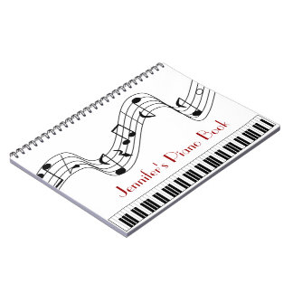 Custom Name Music Piano Keyboard and Notes Note Books